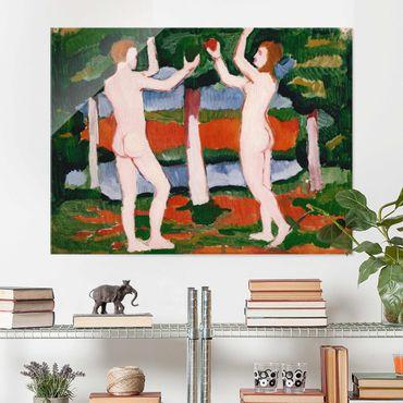 Glasbild - Kunstdruck August Macke - Adam und Eva - Quer 4:3