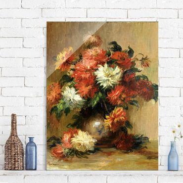 Glasbild - Kunstdruck Auguste Renoir - Stillleben mit Dahlien - Impressionismus Hoch 3:4