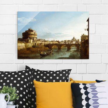 Glasbild - Kunstdruck Bernardo Bellotto - Ansicht Roms am Ufer der Tiber, mit der Kirche San Giovanni dei Fiorentini im Hintergrund - Quer 3:2