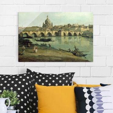 Glasbild - Kunstdruck Bernardo Bellotto - Dresden vom rechten Elbufer unterhalb der Augustusbrücke - Quer 3:2