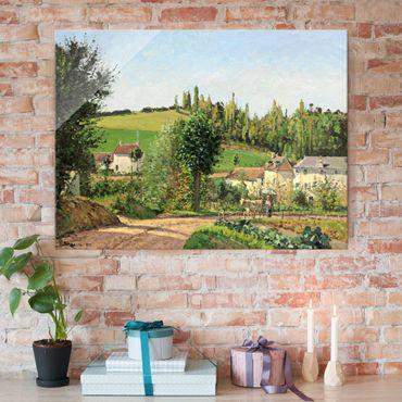 Glasbild - Kunstdruck Camille Pissarro - Kleines Dorf nahe Pontoise - Impressionismus Quer 4:3