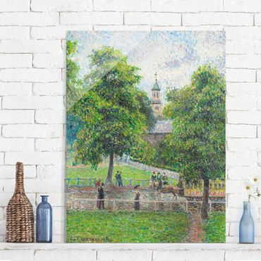 Glasbild - Kunstdruck Camille Pissarro - Saint Anne's Church, Kew, London - Impressionismus Hoch 3:4