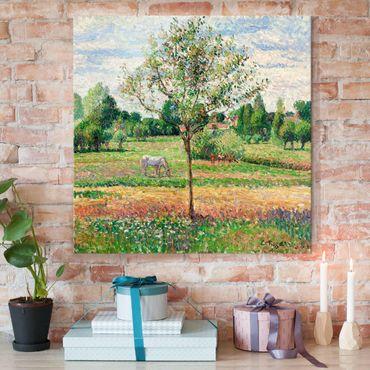 Glasbild - Kunstdruck Camille Pissarro - Wiese mit Schimmel, Eragny - Impressionismus Quadrat 1:1