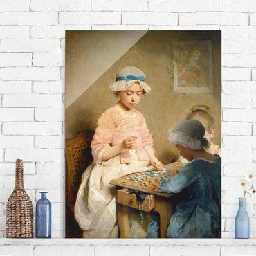Glasbild - Kunstdruck Charles Chaplin - Kinder beim Lotto-Spiel - Hoch 3:4