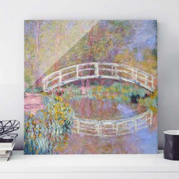 Glasbild - Kunstdruck Claude Monet - Brücke in Monets Garten - Impressionismus Quadrat 1:1