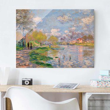 Glasbild - Kunstdruck Claude Monet - Frühling an der Seine - Impressionismus Quer 4:3