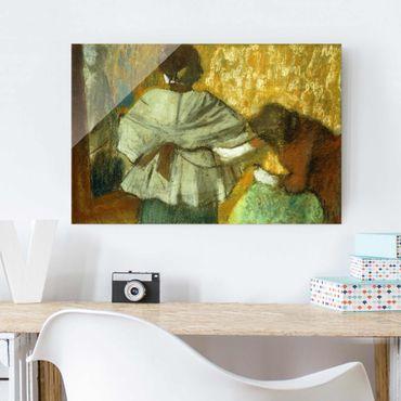Glasbild - Kunstdruck Edgar Degas - Bei der Modistin - Impressionismus Quer 3:2
