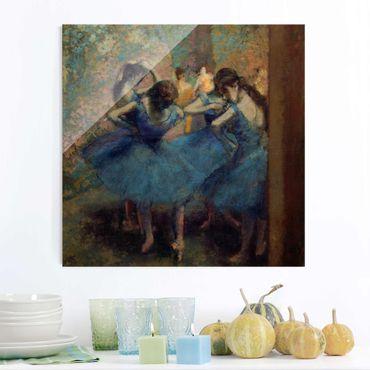 Glasbild - Kunstdruck Edgar Degas - Die blauen Tänzerinnen - Impressionismus Quadrat 1:1
