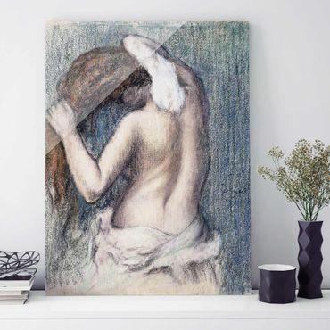 Glasbild - Kunstdruck Edgar Degas - Frau beim Abtrocknen - Impressionismus Hoch 3:4