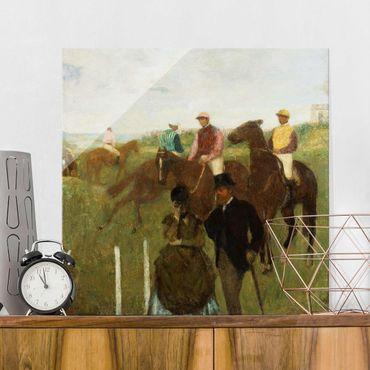 Glasbild - Kunstdruck Edgar Degas - Jockeys auf der Rennbahn - Impressionismus Quadrat 1:1