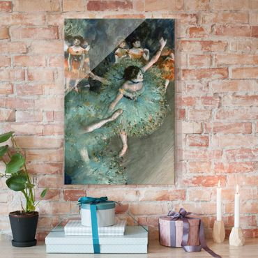 Glasbild - Kunstdruck Edgar Degas - Tänzerinnen in Grün - Impressionismus Hoch 2:3