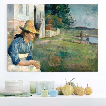 Glasbild - Kunstdruck Edvard Munch - Abend - Expressionismus Quer 4:3