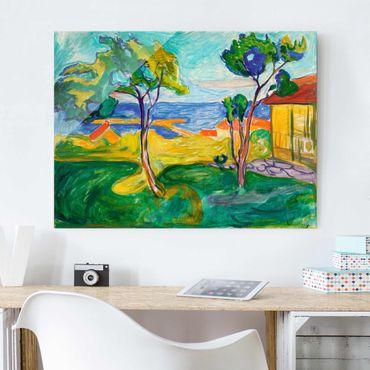 Glasbild - Kunstdruck Edvard Munch - Der Garten in Åsgårdstrand - Expressionismus Quer 4:3