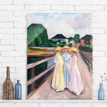 Glasbild - Kunstdruck Edvard Munch - Drei Mädchen auf der Brücke - Expressionismus Hoch 3:4