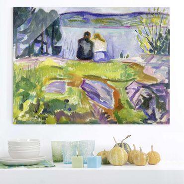 Glasbild - Kunstdruck Edvard Munch - Frühling (Liebespaar am Ufer) - Expressionismus Quer 4:3
