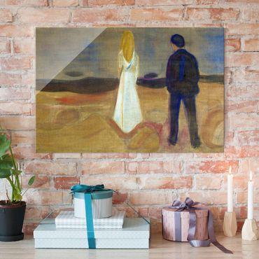 Glasbild - Kunstdruck Edvard Munch - Zwei Menschen. Die Einsamen (Der Reinhardt-Fries) - Expressionismus Quer 3:2