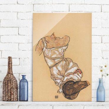 Glasbild - Kunstdruck Egon Schiele - Weiblicher Torso in Unterwäsche und schwarzen Strümpfen - Hoch 2:3