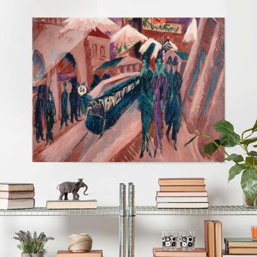 Glasbild - Kunstdruck Ernst Ludwig Kirchner - Leipziger Straße mit elektrischer Bahn - Quer 4:3