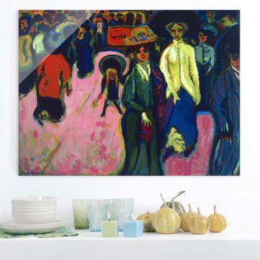 Glasbild - Kunstdruck Ernst Ludwig Kirchner - Straße in Dresden - Quer 4:3