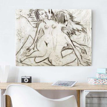 Glasbild - Kunstdruck Ernst Ludwig Kirchner - Zwei Mädchenakte unter Tannen - Quer 4:3