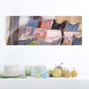 Glasbild - Kunstdruck Franz Marc - Flatternde Wäsche im Wind - Expressionismus Panorama Quer