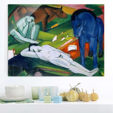 Glasbild - Kunstdruck Franz Marc - Hirten - Expressionismus Quer 4:3