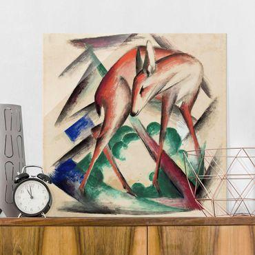 Glasbild - Kunstdruck Franz Marc - Reh - Expressionismus Quadrat 1:1