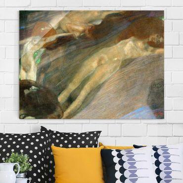 Glasbild - Kunstdruck Gustav Klimt - Bewegtes Wasser - Jugendstil Quer 4:3