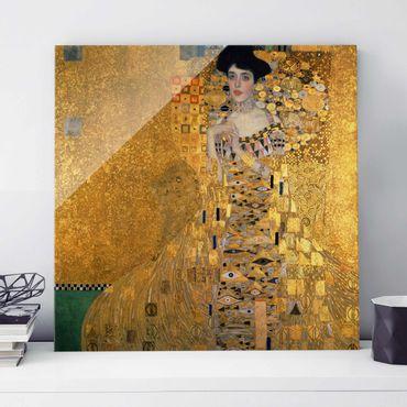 Glasbild - Kunstdruck Gustav Klimt - Bildnis der Adele Bloch-Bauer I - Jugendstil Quadrat 1:1