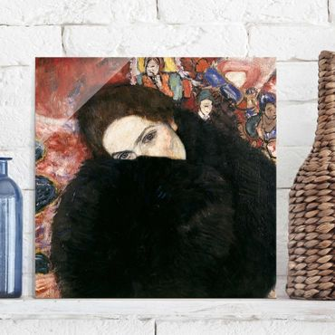Glasbild - Kunstdruck Gustav Klimt - Dame mit Muff - Jugendstil Quadrat 1:1