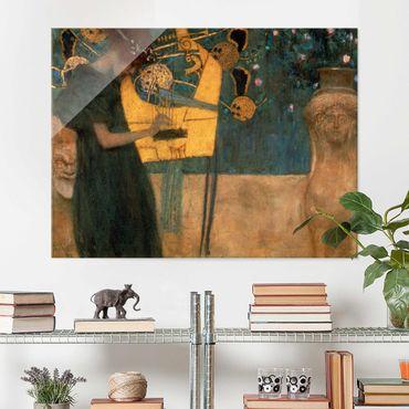 Glasbild - Kunstdruck Gustav Klimt - Die Musik - Jugendstil Quer 4:3