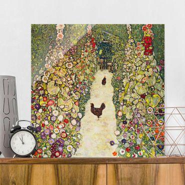 Glasbild - Kunstdruck Gustav Klimt - Gartenweg mit Hühnern - Jugendstil Quadrat 1:1