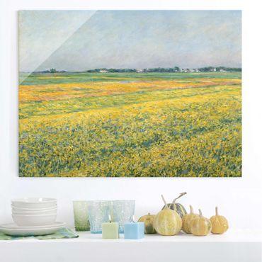 Glasbild - Kunstdruck Gustave Caillebotte - Die Ebene um Gennevilliers, Gelbe Felder - Quer 4:3