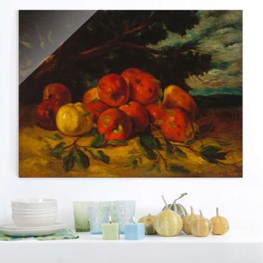 Glasbild - Kunstdruck Gustave Courbet - Apfelstilleben - Quer 4:3