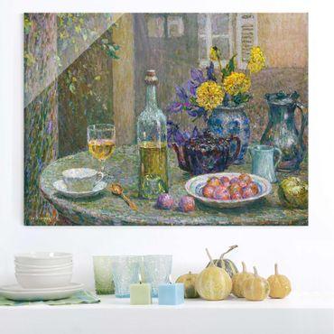 Glasbild - Kunstdruck Henri Le Sidaner - Gelbe Dahlien - Quer 4:3