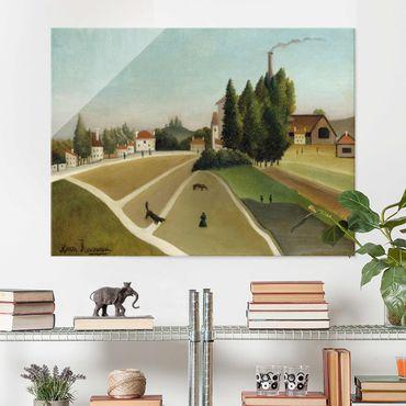 Glasbild - Kunstdruck Henri Rousseau - Landschaft mit Fabrik - Quer 4:3