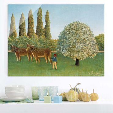 Glasbild - Kunstdruck Henri Rousseau - Wiese (Weide) - Quer 4:3