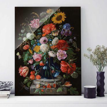 Glasbild - Kunstdruck Jan Davidsz de Heem - Tulpen, eine Sonnenblume, eine Iris und andere Blumen in einer Glasvase auf dem Marmorsockel einer Säule - Hoch 3:4