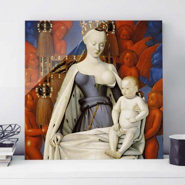 Glasbild - Kunstdruck Jean Fouquet - Die thronende Madonna mit dem Christuskind - Quadrat 1:1