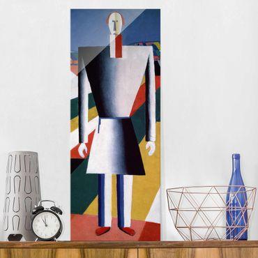 Glasbild - Kunstdruck Kasimir Malewitsch - Bauer auf dem Feld - Panorama Hoch