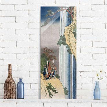 Glasbild - Kunstdruck Katsushika Hokusai - Der Dichter Rihaku (Li Bai) versunken angesichts der Erhabenheit des großen Wasserfalls am Berg Lu - Panorama Hoch