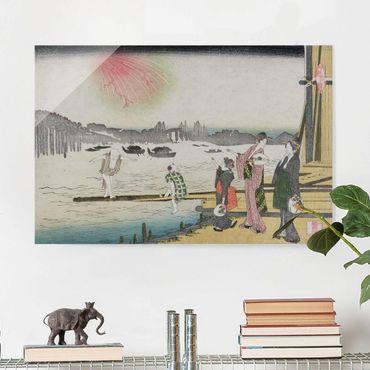 Glasbild - Kunstdruck Katsushika Hokusai - Ein kühler Abend in Ryogoku - Quer 3:2