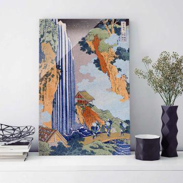 Glasbild - Kunstdruck Katsushika Hokusai - Ono Wasserfall - Hoch 2:3