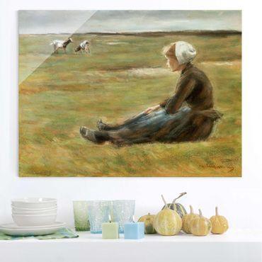 Glasbild - Kunstdruck Max Liebermann - Die Ziegenhirtin - Quer 4:3