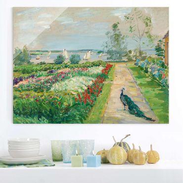 Glasbild - Kunstdruck Max Slevogt - Park am Wannsee (Blumengarten mit Pfau) - Quer 4:3