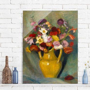 Glasbild - Kunstdruck Otto Modersohn - Bunter Blumenstrauß in gelbem Tonkrug - Hoch 3:4