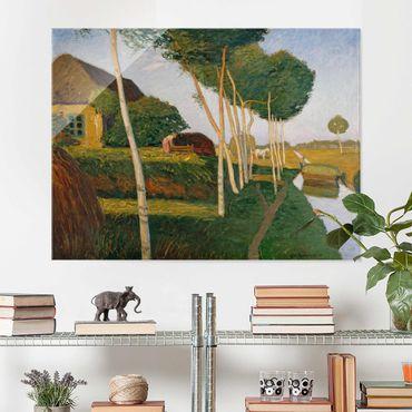 Glasbild - Kunstdruck Otto Modersohn - Heuernte im Moor - Quer 4:3