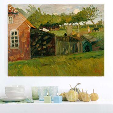 Glasbild - Kunstdruck Otto Modersohn - Rotes Haus mit Ställen - Quer 4:3