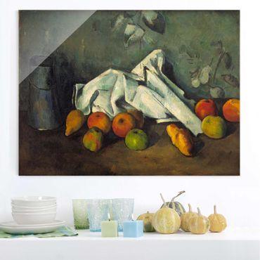 Glasbild - Kunstdruck Paul Cézanne - Milchkanne und Äpfel - Impressionismus Quer 4:3