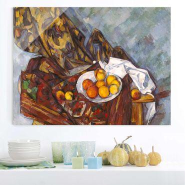 Glasbild - Kunstdruck Paul Cézanne - Stillleben mit Früchten vor einem blumengemusterten Vorhang - Impressionismus Quer 4:3